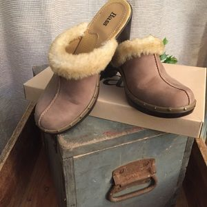 BASS taupe mules with shearling accent. Size 7.5
